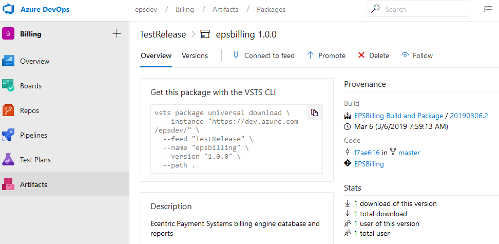 Downloading an Azure DevOps Universal Package from the Command Line